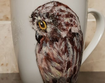 owl mug hand painted original