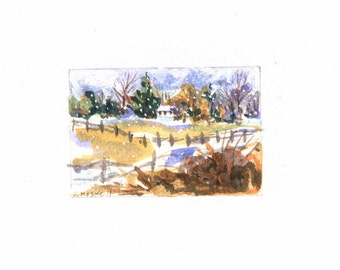 Snowy Farm Meadow Tiny Watercolor