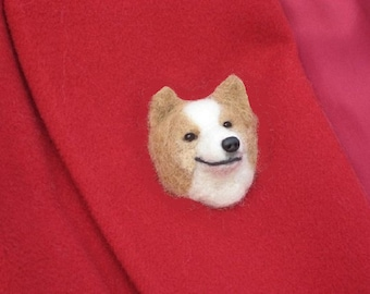 Pet Gift  Your dog as a cute Pin / Custom  Needle Felted Miniature Pet Portrait / Sculpture Brooch