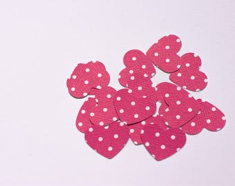 30 dark pink small dot cardstock punches/confetti embellishments for craft or party decor