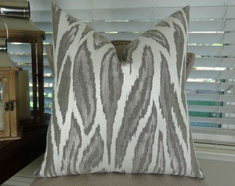 Metallic Gray Ivory Throw Pillow Cover - Silver Gray Glacier Toss Pillow - Metallic Grey Pillow - Modern Gray Throw Pillow - 11396