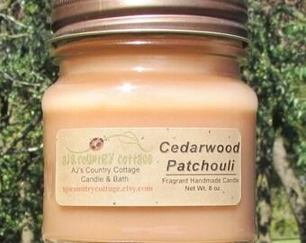 CEDARWOOD PATCHOULI CANDLE - Cedar Wood Candles, Patchouli Candles, Earthy Candles, Woodsy Candles, Men's Candles, Men's Gift, Rustic Decor