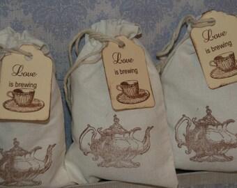 Bridal Tea Party  Favor Bags, Tea Party Favor Tags, Wedding Favor, Bridal Shower Favor Bags,  Love is Brewing  Muslin Bags, Set of 30