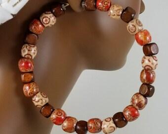 African 4.5 or 5.5 inch wood bead hoop earrings basketball wives threader statement  860