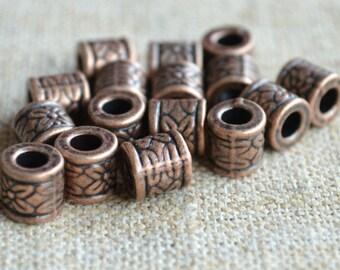 20pcs Metal Bead Antiqued Copper 8x8mm Tube Cylinder 3mm Hole