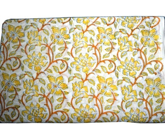 1 to 50 Yards(Print_207)Indian Block Printed 100% Cotton Floral Printed Fabric
