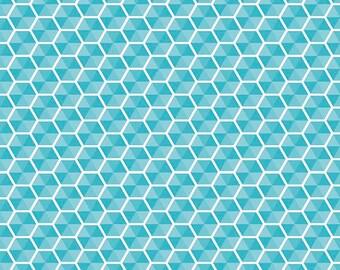 Desert Bloom by Riley Blake - Desert Hexies in Blue, Yard