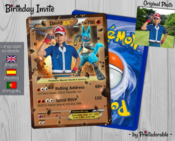 Pokémon Fight Invitation - Fighting Pokemon Card - Lucario Pokémon GO Invite -  Birthday Invitation and Poké Card - Digital or Printed File