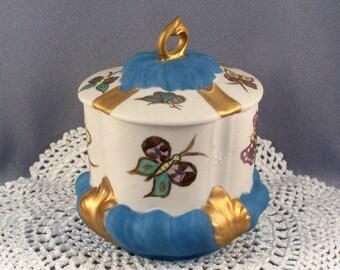 Artful Trinket Jar Box // White Bisque // Very Fine Bisque // Very Thin // See Through // Hand Painted // High Quality Work