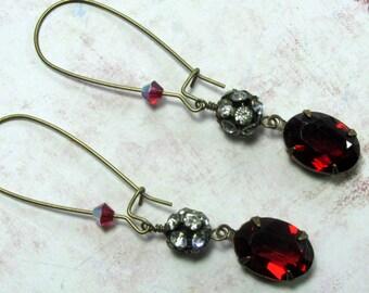 Vintage Rhinestone Earrings, Swarovski Earrings, Ruby Earrings, Vintage Earrings, Red Earrings, Everyday Earrings, Downton Abbey, Dangle