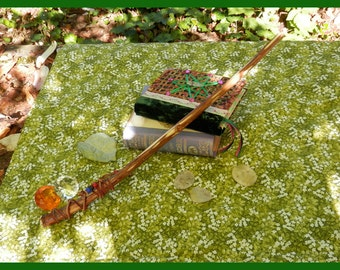 Wildewood FAIRY MAGIC WAND, Brown Suede Grip, Near Straight, All Natural, Handmade, Real