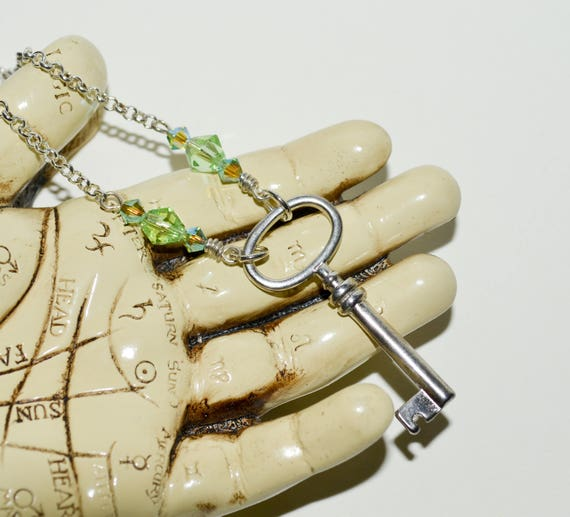 Key Necklace with Green Crystals