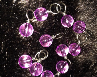 Purple plaatic bead handmade stitch markers for knitting (Qty 12)