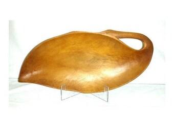 Vintage Wood Leaf Platter,Wooden Leaf Tray,Mid Century,Wooden Serving Dish,Leaf,Relish Dish,Wood Servingware,Hand Carved Wood Dish,MCM,Retro