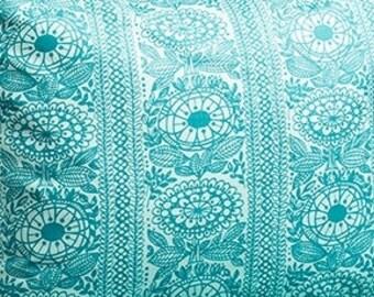 Fabric turquoise flowers Floral fabric Cotton Fabric House textilies Fabric Scandinavian Design Scandinavian Textile