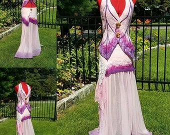 Woodland Fairy Dress in Pink and Purple. Felted Pixie Skirt and Top. Long Boho Gypsy Skirt. Adult Fairy Costume. Burning Man. Festival Wear.