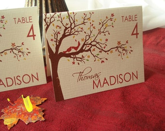 Autumn Love Birds Tree and Leaves Wedding Reception Place Card - Sample