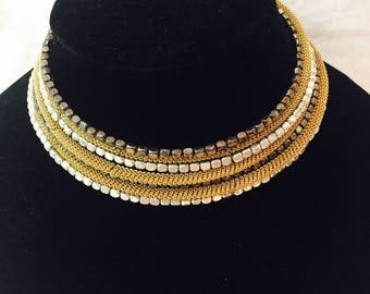Necklace with gold and silver chain adjustable