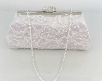 Bridesmaid Gift Clutch, Iris And Ivory With Swarovski Pearls Bridal Clutch, Mother Of The Bride Gift, Bridal Shower Gift, Wedding Clutch