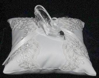 White Pillow with Cinderella Glass Slipper (acrylic) Wedding Ring Bearer Pillow