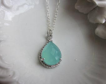 Pacific Aqua Mint Blue Necklace Silver Teardrop - Sterling Silver Chain - Bridesmaid Necklace - Bridesmaid Jewelry - Wedding Jewelry