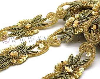 GOLD RHINESTONE beaded trim,trimming,costume,sequin edging,stones,beads,costume,fashion,art,crafts,sewing,embellishment,decoration,fashion