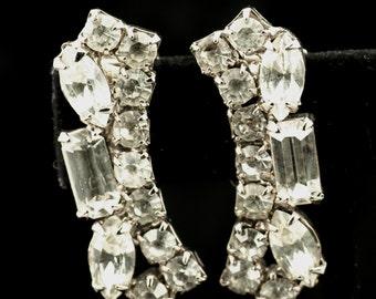 Clear Rhinestone Rectangular Clip Style Earrings - Round, Rectangle, Navette Rhinestones-Art Deco Silver Tone Vintage