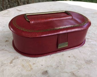 Sweet Little  Red Vinyl Jewelry Travel Case