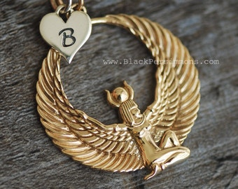 Egyptian Winged Goddess Necklace - Natural Bronze Isis Pendant - Insurance Included