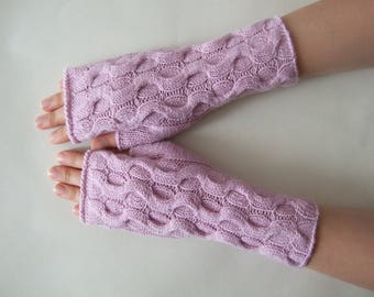 Knitted of 100 % baby MERINO wool. Light old PINK fingerless gloves, wrist warmers, fingerless mittens. Handmade gloves. Cable gloves.