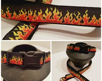 "Red Flame Dog Collar - Red Flame Dog Leash - 3/4"" or 1"" Dog Collar - Dog Lover Gift - Red Hot Dog Collar"