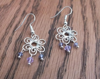 Silver flower earrings, purple Swarovski earrings, summer earrings