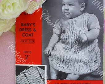 Vintage 1930s Knitting Pattern Baby Girls Lacy Dress. Exquisite Lace-look Design