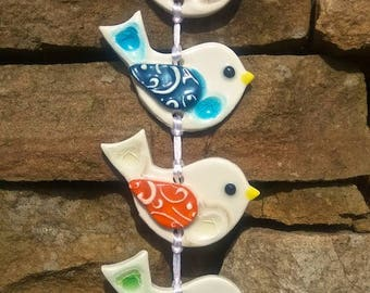 String of Handmade Ceramic Hanging Birds