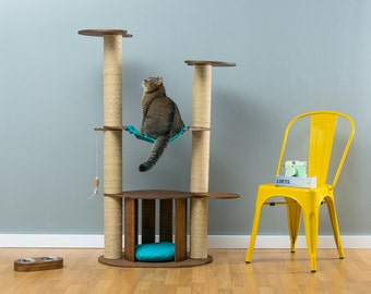 Cat house with sisal tree Tommy Brown | WORLDWIDE SHIPPING | Modern Cat Furniture | Climb Tree | Shelf | Toy | Bed | House | Tower