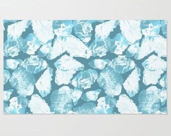 Teal floor rug, mosaic style area mat, living room woven floor covering, comfort interior design