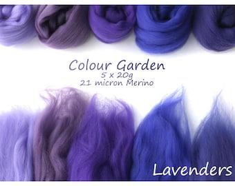 Purple Merino Shade sets - 21 micron Merino wool - 100g - 3.5oz - 5 x 20g - Colour Garden - LAVENDERS
