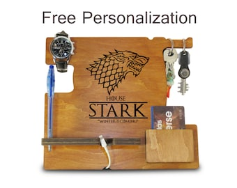 Game of Thrones Gift or Boyfriend Christmas Gift, Docking Station Organizer and Nightstand Docking Station or Wood Anniversary Gift for Him