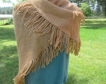 6' triangular tan shawl