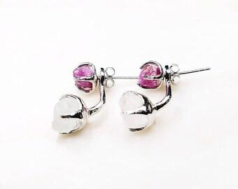2 WAY EARRINGS. Silver Ruby Earrings. Silver Drop Ruby Earrings. Silver gemstone earrings. Valentine's gift. July birthstone. Raw ruby.