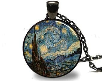 Starry Night Pendant, Starry Night Necklace, Vincent van Gogh Pendant Black(PD0148)