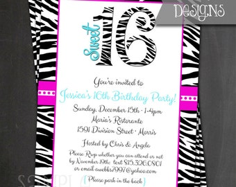Printable Sweet 16 Zebra Birthday Invite - Digital File ONLY
