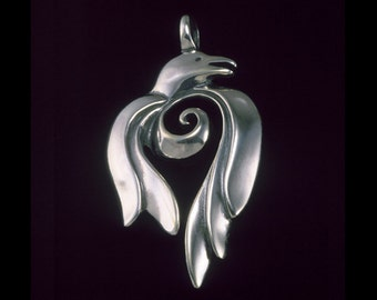 Raven  Pendant / Necklace, Totem, Silver Symbolic Jewelry by K Robins Designs - Nature Collection