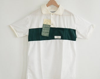 Mesh Polo Shirt Airskinz by Sunskinz New with Tags Dead Stock Perforated Light Mesh Polo Shirt Size Medium Green Plush Stripe Accent 80's