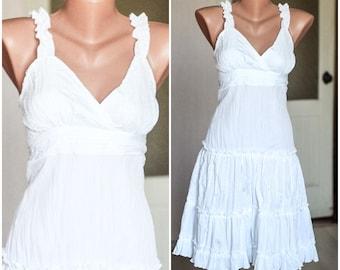 vintage white  summer dress, ruffles midi dress, fit and flare dress 36 size, spaghetti straps, tea garden party dress, boho chic S M size