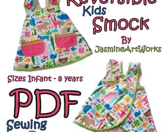 Reversible Kids Smock Apron PDF Sewing Pattern