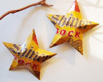 Shiner Bock Beer Stars Christmas Ornaments Aluminum Can Upcycled Texas Spoetzl Brewery