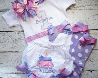 First Birthday shirt, birthday outfit, baby girl clothes, cake smash outfit, birthday onepiece, legwarmers,  ruffle bloomers, birthday girl