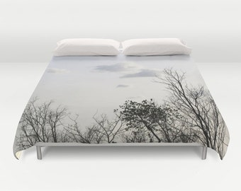 Trees Duvet Cover, Decorative bedding, Trees Bedding, Cloudy sky, Nature bedding, bedroom blanket, Goth, Gothic, Woods, Dorm, Branches