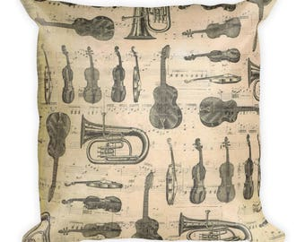 music throw pillow, music pillow, music note pillow, musical pillow,  music home decor, music room decor, music bedroom decor, music bedding